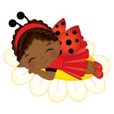 Vector Cute Little African American Girl Sleeping on Flower Royalty Free Stock Photography