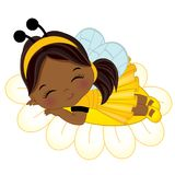 Vector Cute Little African American Girl Sleeping on Flower. Little girl dressed in bee style. Vector little girl. Little African American girl vector vector illustration