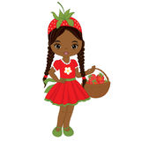 Vector Cute Little African American Girl with Strawberries Stock Photo