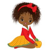 Vector Cute Little African American Girl with Yellow Apple vector illustration