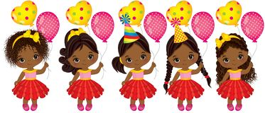 Vector Cute Little African American Girls with Balloons. Vector little girls with various hairstyles. Vector little girl. Little African American girls with Royalty Free Stock Photography