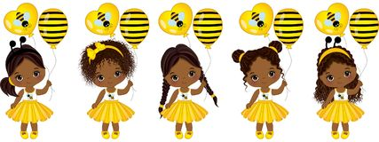 Vector Cute Little African American Girls with Balloons. Vector cute little African American girls with various hairstyles. Little girls dressed in bee style stock illustration