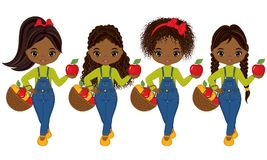 Vector Cute Little African American Girls with Baskets of Apples. Vector little girls with various hairstyles. Vector little girl. Little girls with apples Royalty Free Stock Photos