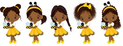 Vector Cute Little African American Girls with Bees. Vector cute little African American girls with various hairstyles. Little girls dressed in bee style. Vector royalty free illustration