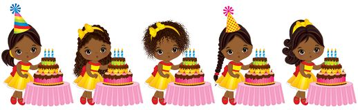 Vector Cute Little African American Girls Blowing out Candles on Birthday Cakes. Vector little girls with various hairstyles. Little African American girls vector illustration