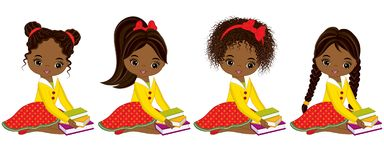 Vector Cute Little African American Girls with Books. Vector little girls with various hairstyles. Vector little girl. Little African American girls vector Stock Photos