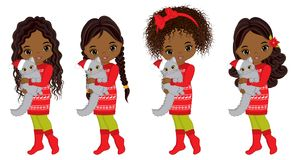 Vector Cute Little African American Girls with Cats Royalty Free Stock Images