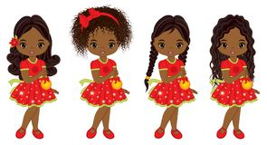 Vector Cute Little African American Girls with Christmas Balls. Vector African American girls with various hairstyles. Vector Christmas girls. Little African Stock Photos