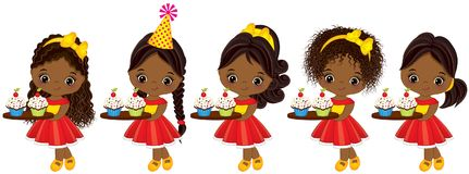 Vector Cute Little African American Girls with Cupcakes. Vector cute little African American girls holding trays with cupcakes. Vector little girls with various Royalty Free Stock Photography