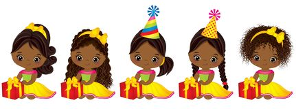 Vector Cute Little African American Girls with Gift Boxes. Vector little girls with various hairstyles. Vector little girl. Little African American girls with Royalty Free Stock Photography