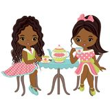 Vector Cute Little African American Girls Having Tea Stock Photos