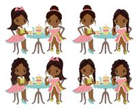 Vector Cute Little African American Girls Having Tea. Vector little girls with various hairstyles. Vector tea party. Vector little girl. Little African Stock Images
