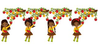 Vector Cute Little African American Girls Picking Apples in Orchard. Vector cute little African American girls picking apples. Vector little girls with various Royalty Free Stock Photography