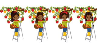 Vector Cute Little African American Girls Picking Apples from Trees. Vector little girls with baskets of apples. Vector little girl. Little African american Royalty Free Stock Image