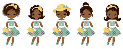 Vector Cute Little African American Girls in Retro Style. Vector African American girls with various hairstyles. Pin-up little girls vector illustration royalty free illustration