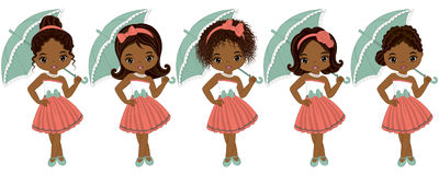 Vector Cute Little African American Girls in Retro Style Stock Images