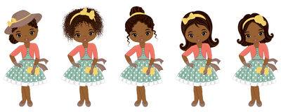 Vector Cute Little African American Girls in Retro Style. Vector African American girls with various hairstyles. Pin-up little girls vector illustration Royalty Free Stock Image