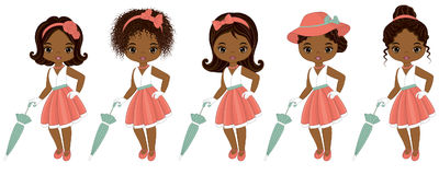 Vector Cute Little African American Girls in Retro Style. Vector African American girls with various hairstyles. Pin-up little girls vector illustration Royalty Free Stock Images