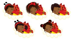 Vector Cute Little African American Girls Sleeping on Flowers. Vector cute little African American girls with various hairstyles. Vector little girls dressed in Royalty Free Stock Photos