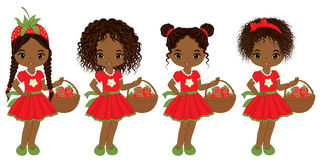 Vector Cute Little African American Girls with Strawberries Stock Photography