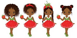 Vector Cute Little African American Girls with Strawberries. Vector cute little African American girls with various hairstyles. Vector strawberries. African Stock Photo
