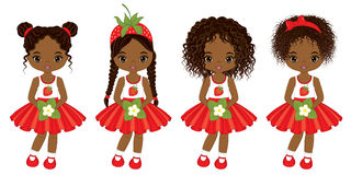 Vector Cute Little African American Girls with Strawberry Flowers Stock Image