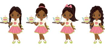 Vector Cute Little African American Girls with Tea Pots. Vector cute little African American girls with tea cups, cupcakes and trays. Vector little girls with Stock Photos