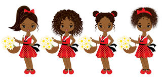 Vector Cute Little African American Girls with Various Hairstyles Stock Images