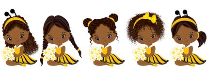 Vector Cute Little African American Girls with Various Hairstyles. Little girls dressed in bee style. Vector little girl. Little African American girls vector vector illustration