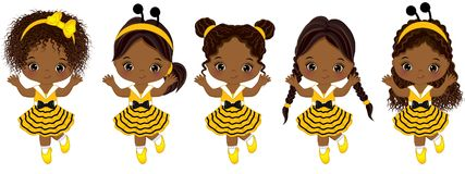 Vector Cute Little African American Girls with Various Hairstyles. Little girls dressed in bee style running. Vector little girl. Little African American girls royalty free illustration