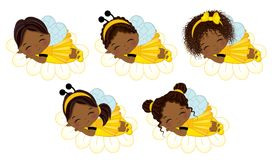 Vector Cute Little African American Girls with Various Hairstyles. Little girls dressed in bee style sleeping on flowers. Vector little girl. Little African stock illustration