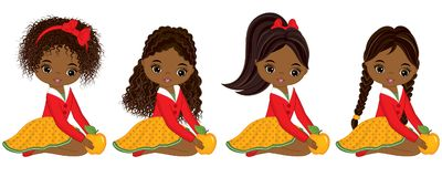Vector Cute Little African American Girls with Yellow Apples. Vector little girls with various hairstyles. Vector little girl. Little African American girls Royalty Free Stock Images