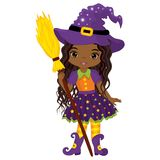 Vector Cute Little African American Witch with Broomstick. Vector Halloween African American witch. Vector witch. Halloween witch with broomstick vector Stock Images