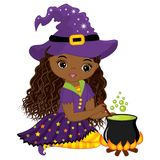Vector Cute Little African American Witch Cooking Magic Potion in Cauldron. Vector Halloween African American witch. Vector witch. Halloween witch with Royalty Free Stock Photo