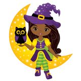 Vector Cute Little African American Witch with Owl and the Moon. Vector cute little African American witch with owl sitting on the Moon. Vector Halloween African Stock Photo