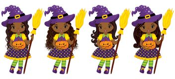Vector Cute Little African American Witches with Broomsticks and Pumpkins Stock Photography