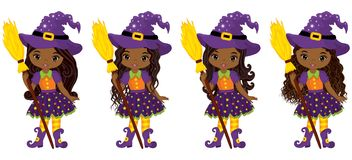 Vector Cute Little African American Witches with Broomsticks Stock Photos