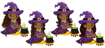 Vector Cute Little African American Witches Cooking Magic Potion in Cauldrons Royalty Free Stock Photography