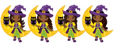 Vector Cute Little African American Witches with Owls and the Moon Stock Photos