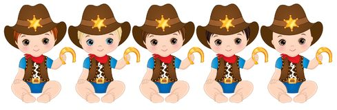 Free Vector Cute Little Baby Boys Dressed As Cowboys Stock Images - 118416524