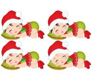 Vector Cute Little Baby Girls in Christmas Clothes Sleeping. Vector cute little baby girls wearing Christmas clothes. Vector baby girls with various hair colors Royalty Free Stock Photos