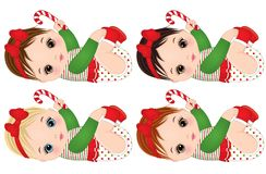 Vector Cute Little Baby Girls Wearing Christmas Clothes. Vector Christmas baby girl with various hair colors. Vector baby girls with candy sticks. Baby girls Stock Images