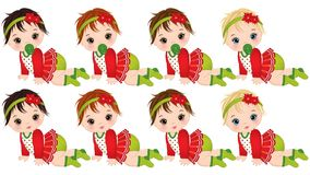 Vector Cute Little Baby Girls in Christmas Clothes Crawling Stock Image