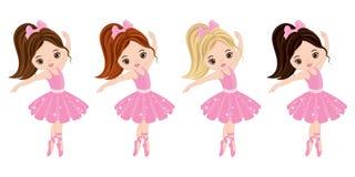 Vector Cute Little Ballerinas with Various Hair Colors. Vector ballerinas in pink tutu dresses. Ballerinas vector illustration royalty free illustration