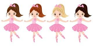 Vector Cute Little Ballerinas. With various hair colors. Vector ballerinas in pink tutu dresses. Ballerinas vector illustration Stock Photography