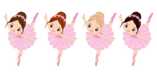 Vector Cute Little Ballerinas with Various Hair Colors Stock Images