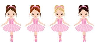 Vector Cute Little Ballerinas with Various Hair Colors Stock Photos
