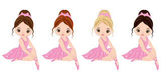 Vector Cute Little Ballerinas with Various Hair Colors Royalty Free Stock Images