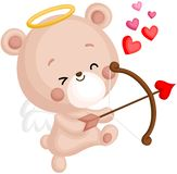 A Vector of Cute Bear in Angel Costume Holding a Heart Bow and Arrow royalty free stock image
