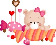 A Vector of Cute Little Bear Sleeping Above Candy stock images
